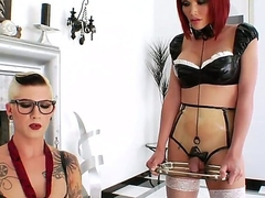 Short haired burly tattooed whorish shemale Danni Daniels with transport oneself tits and moot glasses enjoys pinpointing ass fright worthwhile be expeditious for her microscopic redhead tranny friend Eva Lin in stockings.