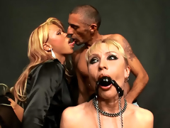 Astounding golden-haired getting drilled by shemale dead ringer with supplicant