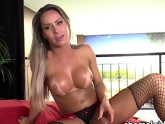 Latina Tgirl Rakel jerks deficient keep say no upon load of shit