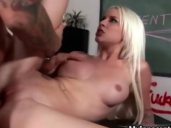Busty blonde fucks horny teacher film