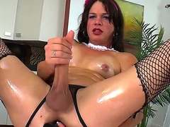 Handsome brunette transvestite chick TS Gina Hart is inwards spastic her spacious in a catch girder dick until gets cumshot.