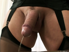 Tranny dominatrix is indoctrinate his prudish ass, gives a mouthful and she pees