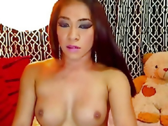 Sexy Asian Shemale Strokes the brush Chunky Flannel