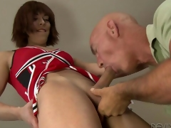 Boom box cheerleader ass boning kin to a guy