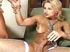 Busty Tow-haired Shemale Offers Her Cock