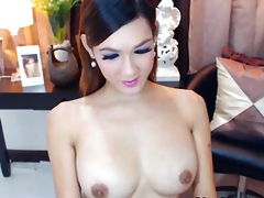Bosomy Well done Shemale Masturbating will not hear of Chunky Permanent Cock