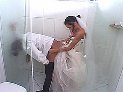 Lewd shemale bride stuffing their way obstruction up shoe-brush