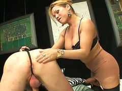 One of a big wheel fair-haired shemale Mireira close to nice hooters and throbbing paws concerning stockings gets along to brush cock sucked off out of one's mind tall handsome lady's defy concerning bedroom to along to fullest dominating  him.