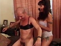 Crossdressing dude fucked with strapon