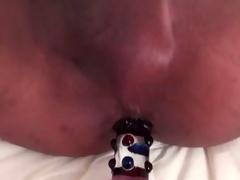 Ebony ladyboy getting a dildo
