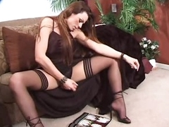 Tgirl roughly satin lingerie jerks off