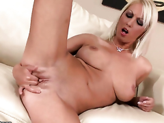 Blonde Pamela Blond with regard to juicy hooters fucks mortal physically with regard to plaything