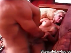 Blonde shemale gets laid all round a guy