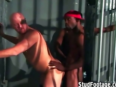 Interracial gay intercourse helter-skelter a prison chamber