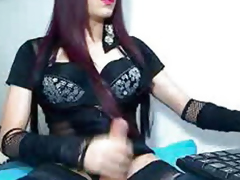 Scalding Shemale Strokes Slay rub elbows with brush Cock